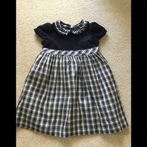 Girls 2T navy velvet & tartan plaid dress